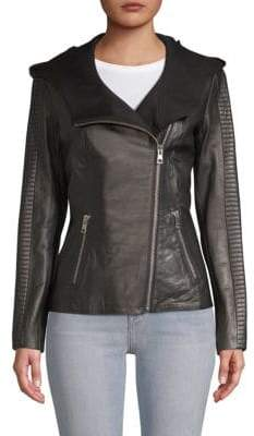 Soia & Kyo Hooded Leather Jacket