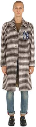 Gucci Wool Houndstooth Coat W/ Ny Detail