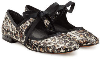 Marc Jacobs Sequin Ballerinas with Ribbon Ties