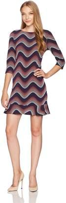 Sandra Darren Women's 1 Pc Petite 3/4 Sleeve Printed Wave Puff Ity Dress