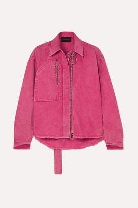 Cédric Charlier Zip-embellished Acid-wash Denim Jacket - Fuchsia