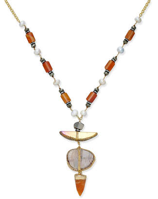 Paul & Pitu Naturally Tri-Tone Pave, Imitation Pearl & Orange Stone Pendant Necklace