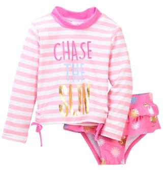 Wetsuit Club Chase the Sun Rashguard & Ruffle Bikini Bottom Swimsuit Set (Baby Girls 12-24M)