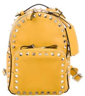 Valentino Rockstud Leather Backpack Yellow Rockstud Leather Backpack