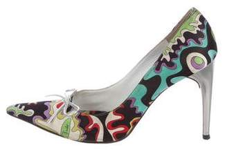 Emilio Pucci Printed Pointed-Toe Pumps w/ Leather Bows