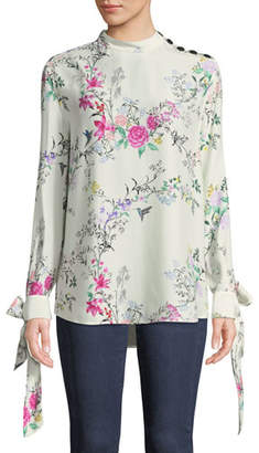 Equipment Avelaine Long-Sleeve Tie-Cuffs Floral-Print Blouse