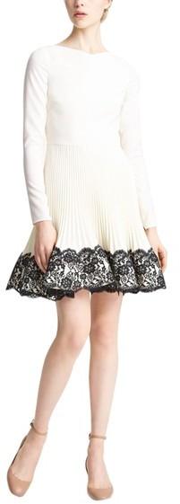 Valentino Lace Hem Wool Dress