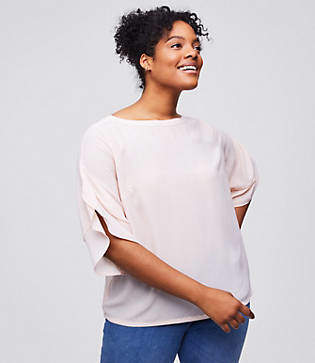 LOFT Plus Flounce Sleeve Mixed Media Top