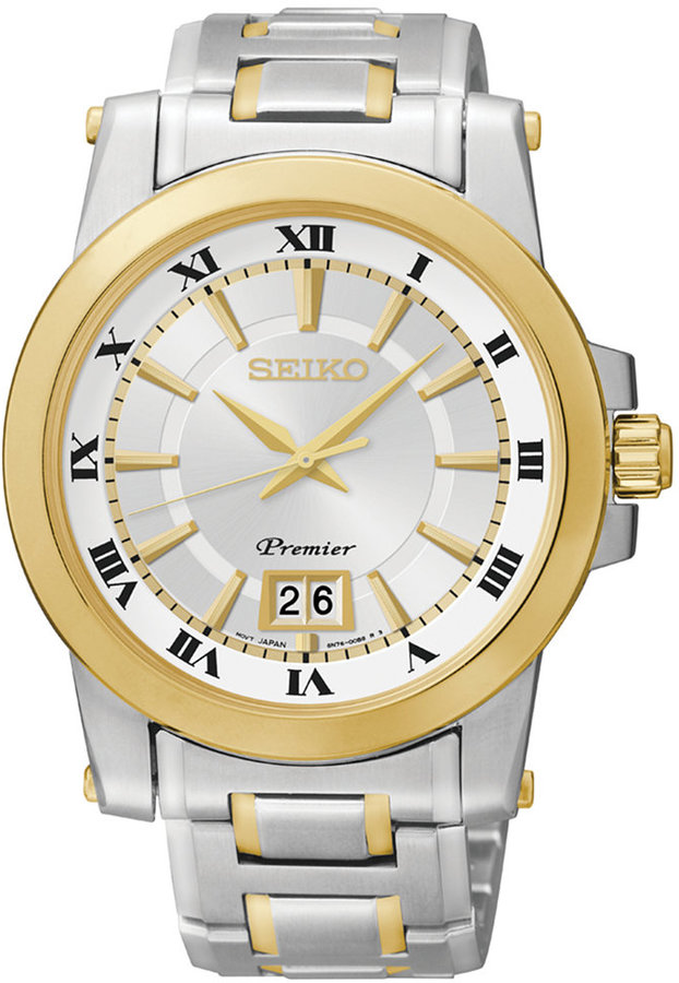 SeikoSeiko Men's Premier Two-Tone Stainless Steel Bracelet Watch 28mm SUR016