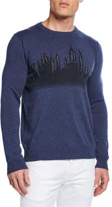 Neiman Marcus Men's Hand-Embroidered New York Skyline Sweater