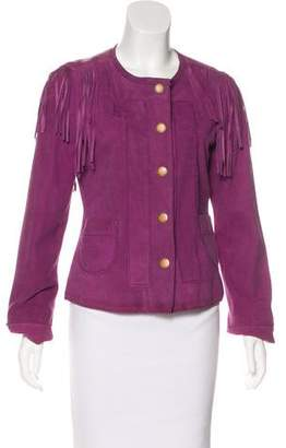 Tory Burch Fringe-Accented Suede Jacket