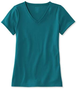 L.L. Bean L.L.Bean Pima Cotton Shaped V-Neck, Short-Sleeve