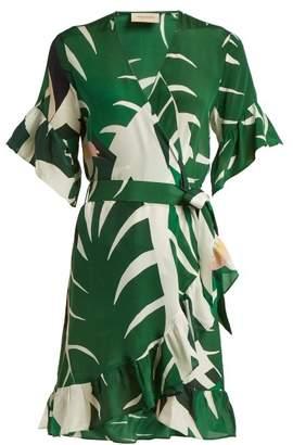 Adriana Degreas - Printed Silk Crepe Wrap Dress - Womens - Green Print