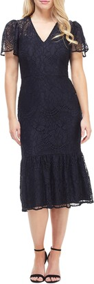 Maggy London Lace Ruffle Hem Dress