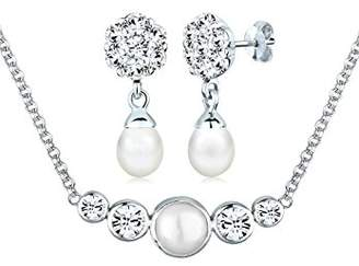 Perlu Women's 925 Sterling Silver Xilion Cut Swarovski Crystals Pearl Necklace of Length 45 cm with Drop Earrings