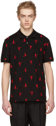 Alexander McQueen Black All Over Dancing Skeleton Polo