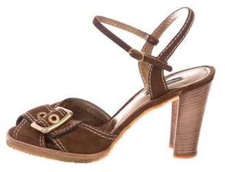 Dolce & Gabbana Suede Peep-Toe Sandals
