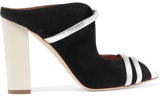 Malone Souliers Maureen Leather-trimmed Suede Mules - Black