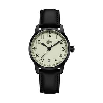 Laco 1925 Manoco Navy Watch Black PVD Automatic on a Black Leather Strap