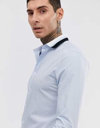 Asos Design DESIGN skinny fit shirt in light blue with rib detail
