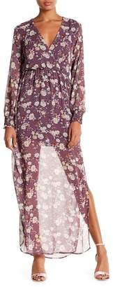 Lush Surplice Neck Long Sleeve Maxi Dress