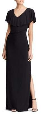 Lauren Ralph Lauren Ruffled Jersey Maxi Dress