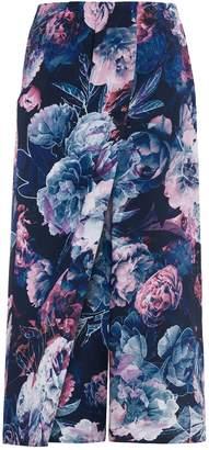 Abigail London - Silk Floral Print Kitty Culottes Navy