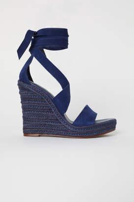 H&M Suede Wedge-heel Sandals - Blue
