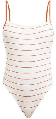 Solid & Striped The Chelsea Striped Swimsuit - Womens - White Stripe