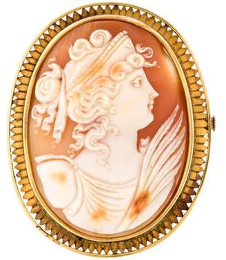 14K Shell Antique Cameo Brooch