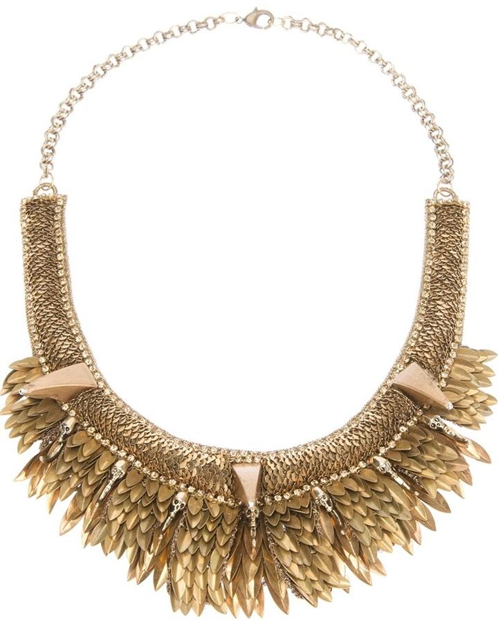 Deepa Gurnani skull claw chain necklace