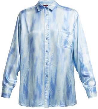 SIES MARJAN Sander patch-pocket tie-dye satin shirt