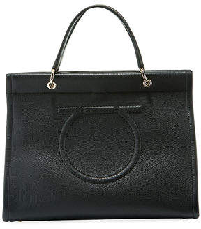 Salvatore Ferragamo Shopping Lux Pebbled Leather Tote Bag