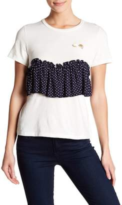 Romeo & Juliet Couture Short Sleeve Pin Accent Ruffle Sleeve Tee