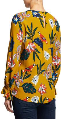 Neiman Marcus Long-Sleeve Floral Twist Blouse