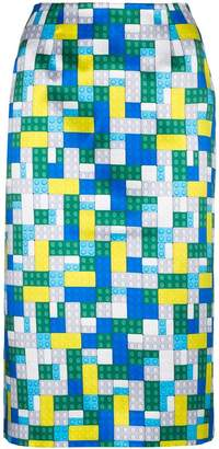 Mary Katrantzou Toy brick print pencil skirt