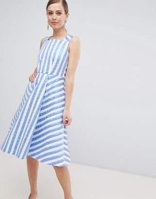 Closet London Striped Midi Prom Dress