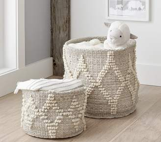 Pottery Barn Kids Winter Bohemian Wool Basket - Small White w/ Silver Metallic