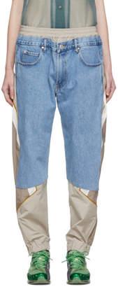 Martine Rose Blue and Beige Hybrid Track Jeans