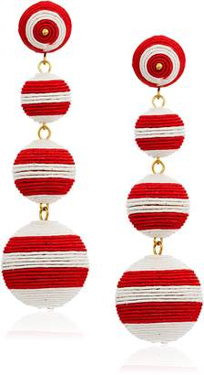Kenneth Jay Lane Red White Stripe Thread Matte Drop Earrings