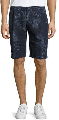Etro Paisley Linen Shorts, Navy $480 thestylecure.com