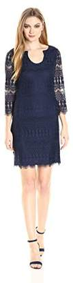 Jessica Simpson Women's Lace Shift Dress with Horseshoe Neckline