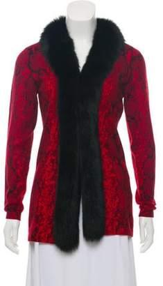Sofia Cashmere Lightweight Fur-Trimmed Cardigan Red Lightweight Fur-Trimmed Cardigan