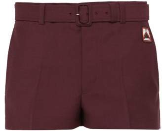 Prada Belted Mohair Blend Shorts - Mens - Burgundy