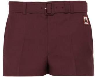 Prada Belted Mohair Blend Shorts - Mens - Burgundy