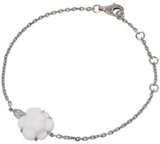 Chanel Camellia 18K White Gold Diamonds White Ceramic Bracelet