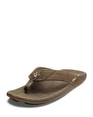 OluKai Men's Nui Leather Flip-Flop Sandals