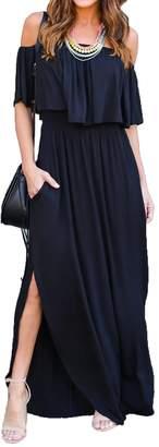 Choies record your inspired fashion Women's Off Shoulder Ruffle Maxi Dress Side Split Pockets Long Dress