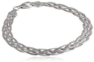 Italian Sterling 5-Strand Diamond Cut Braided Herringbone Bracelet