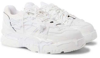 Maison Margiela Fusion Rubber-trimmed Distressed Leather Sneakers - White